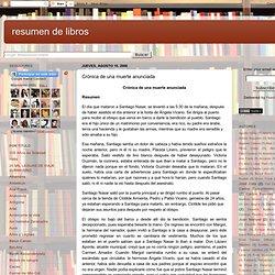 resumen de libros: Crónica de una muerte anunciada
