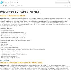 Resumen del curso HTML5