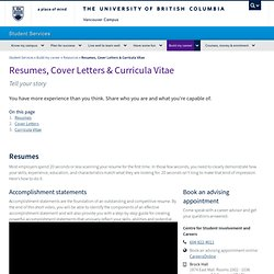 Resumes and Cover Letters - Centre for Student Involvement & Careers