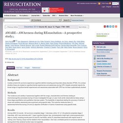 AWARE—AWAreness during REsuscitation—A prospective study - Resuscitation