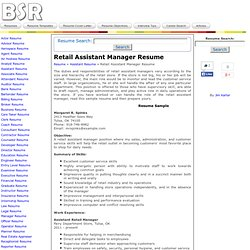 Retail assistant manager responsibilities resume