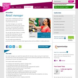 Retail manager job information