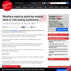 Retailers need to optimise mobile sites or risk losing customers