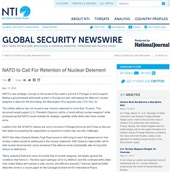 Global Security Newswire - NATO to Call For Retention of Nuclear Deterrent
