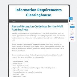 Record Retention Guidelines for the Well Run Business