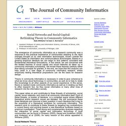 Social Networks and Social Capital: Rethinking Theory in Community Informatics
