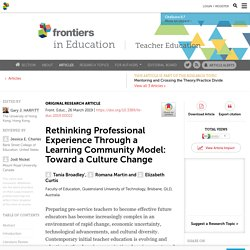 Rethinking Professional Experience Through a Learning Community Model: Toward a Culture Change