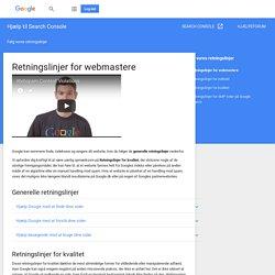 Retningslinjer for webmastere - Hjælp til Search Console
