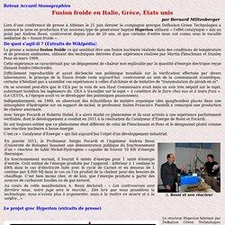 Fusion froide en Italie, Grèce, États unis