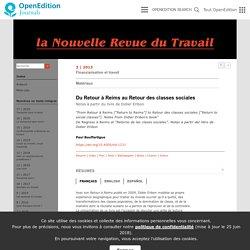 Du Retour à Reims au Retour des classes sociales