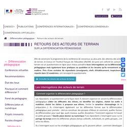 Conférences CNESCO : Différentiation pédagogique