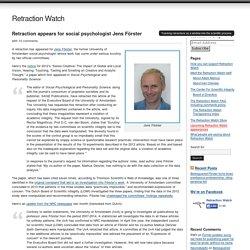 Retraction appears for social psychologist Jens Förster