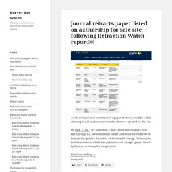 Retraction Watch | Tracking retractions as a window into the scientific process