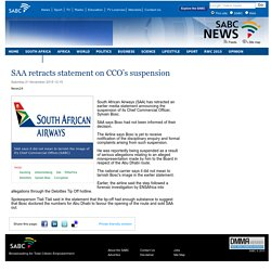 SAA retracts statement on CCO's suspension :Saturday 21 November 2015
