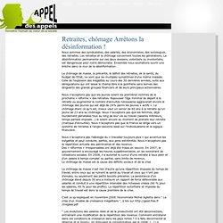Retraites, chômage – Arrêtons la désinformation ! - Appel des appels