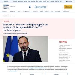 """EN DIRECT - Retraites : Philippe appelle les syndicats """"à la reponsabilité"""", la CGT continue la grève"""