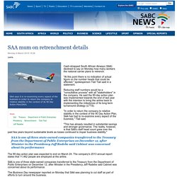 SAA mum on retrenchment details:Monday 9 March 2015