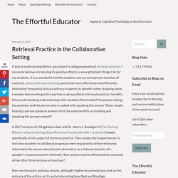 Retrieval Practice in the Collaborative Setting