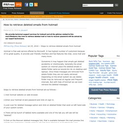 How to retrieve deleted emails from hotmail