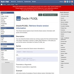 Retrieve Oracle version information