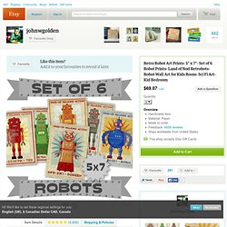 New Size 5 in x 7 in Set of 6 Robot Illustrations by johnwgolden
