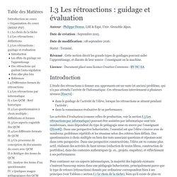 I.3 Les rétroactions : guidage et évaluation — Cours QCM