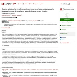 Características de la retroalimentación como parte de la estrategia evaluativa durante el proceso de enseñanza aprendizaje en entornos virtuales: Una perspectiva teórica