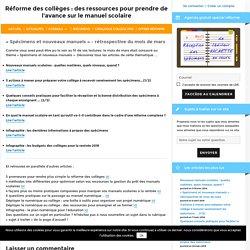 « Spécimens et nouveaux manuels » - rétrospective du mois de mars - Réforme des collèges : des ressources pour prendre de l'avance sur le manuel scolaire