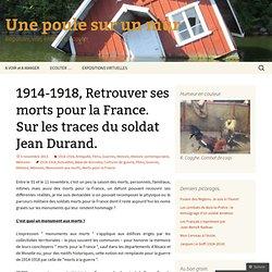 1914-1918, Retrouver ses morts pour la France. Sur les traces du soldat Jean Durand. | Une poule sur un mur