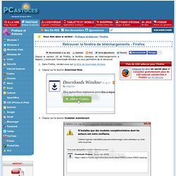 Retrouver la fenêtre de téléchargements - Firefox
