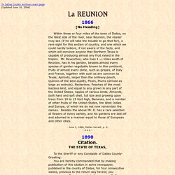 La Reunion Articles, Dallas County, Texas