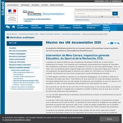 Réunion des IAN documentation 2020 — Documentation (CDI)