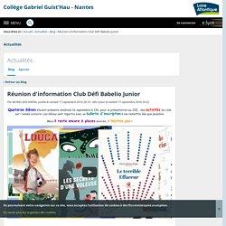Réunion d'information Club Défi Babelio Junior - Actualités - Collège Gabriel Guist'Hau - Nantes