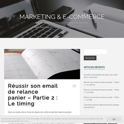 Réussir son email de relance panier - Partie 2 : Le timing - Marketing & E-commerce