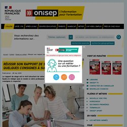 Réussir son rapport de stage de collège : quelques consignes à suivre - Onisep