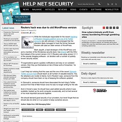 Reuters hack was due to old WordPress version