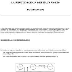 LA REUTILISATION DES EAUX USEES