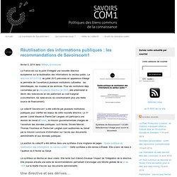 Réutilisation des informations publiques : les recommandations de Savoirscom1