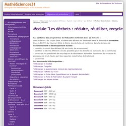 """Module """"Les déchets : réduire, réutiliser, recycler"""" - MathéSciences31"""