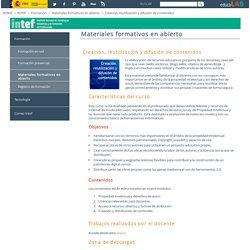 Creación, reutilización y difusión de contenidos - Materiales formativos en abierto
