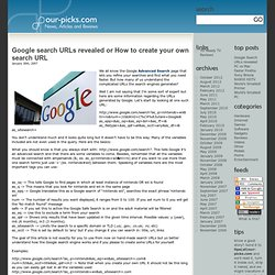 Google search URLs revealed or How to create your own search URL
