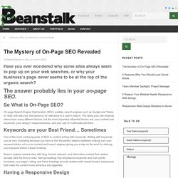 Mystery of On-Page SEO Revealed - Beanstalk Web Solutions