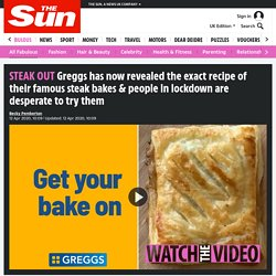 Greggs has now revealed the exact recipe of their famous steak bakes