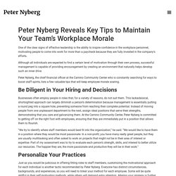 Peter Nyberg Reveals Key Tips to Maintain Your Team's Workplace Morale