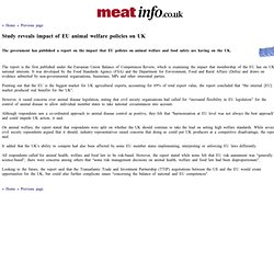 MEAT INFO 26/07/13 Study reveals impact of EU animal welfare policies on UK