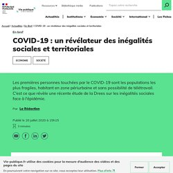 COVID-19 : un révélateur des inégalités sociales et territoriales