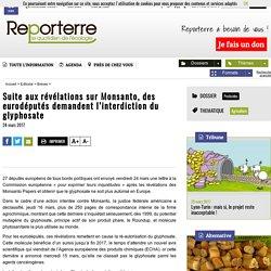 Suite aux révélations sur Monsanto, des eurodéputés demandent l'interdiction du glyphosate