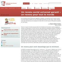 Un revenu social universel garanti – un revenu pour tout le monde