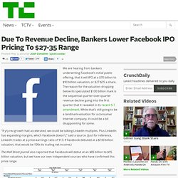 Due To Revenue Decline, Bankers Lower Facebook IPO Pricing To $27-35 Range