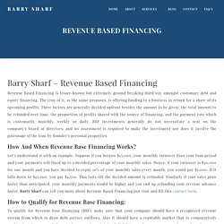 Barry Sharf Revenue Based Financing To Grow Your Small & Medium Business